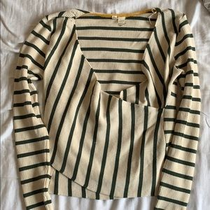 Anthropologie Cross front striped sweater